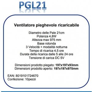 Zephir PGL21 Ventilatore Pieghevole Ricaricabile