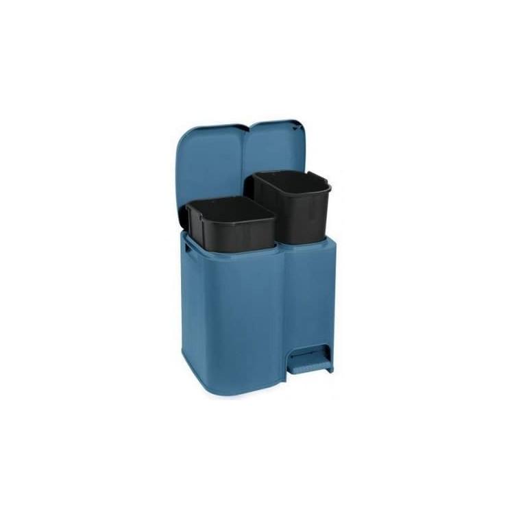 Tontarelli, Pattumiera Patty - Differenziata Con 2 Secchi In Plastica 39x32.5 cm, Colore blu